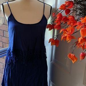 Navy blue fringe top dress